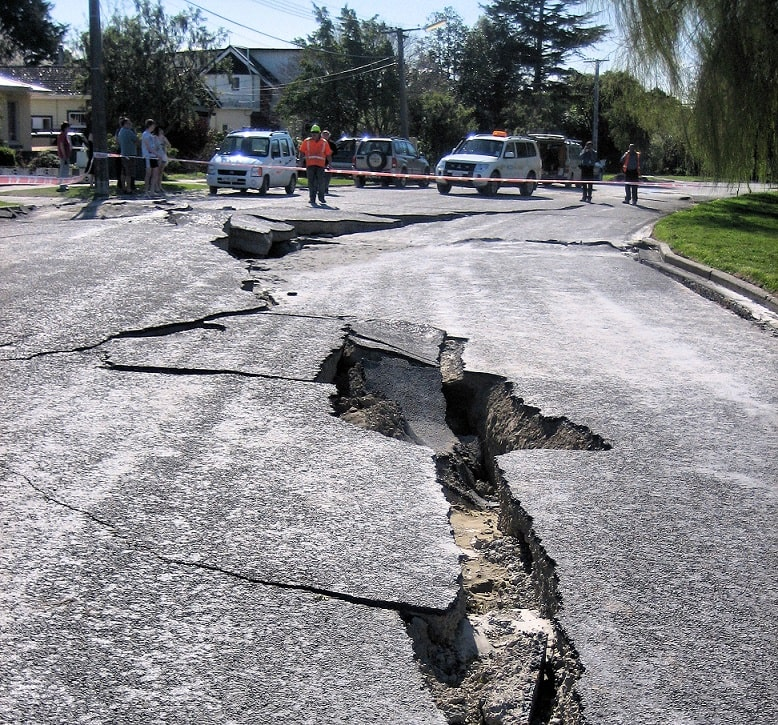 Road damage after earthquake.