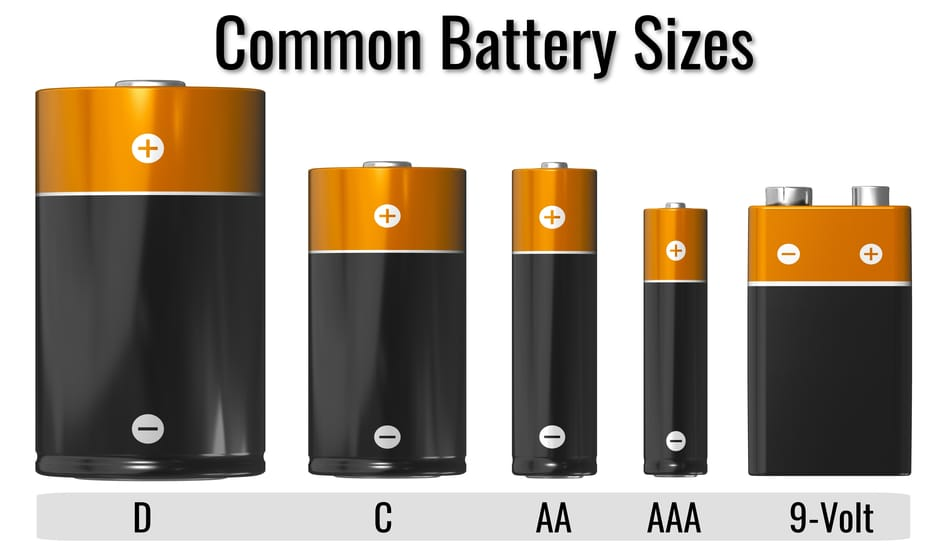 Common battery sizes and types.