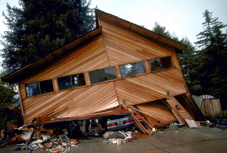 Home damage from the Loma Prieta earthquake in 1989.
