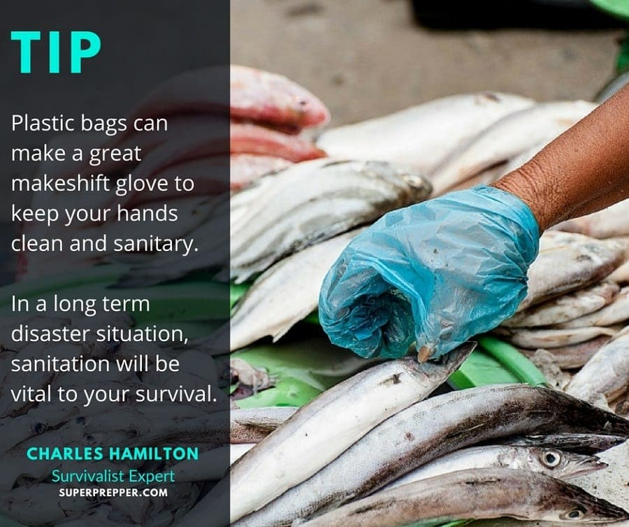 Survival tip for using plastic bags as emergency gloves.