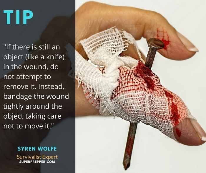 Wrap the wound around the protruding object.