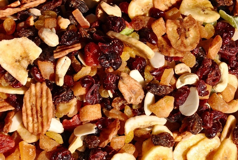 Dried fruit pieces.