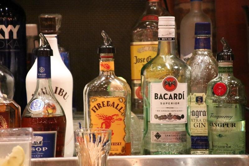 A selection of hard liquor.