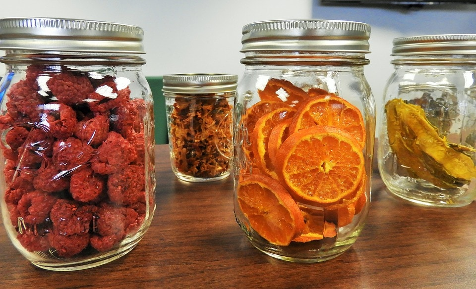 Home made dehydrated food in mason jars for long term storage.