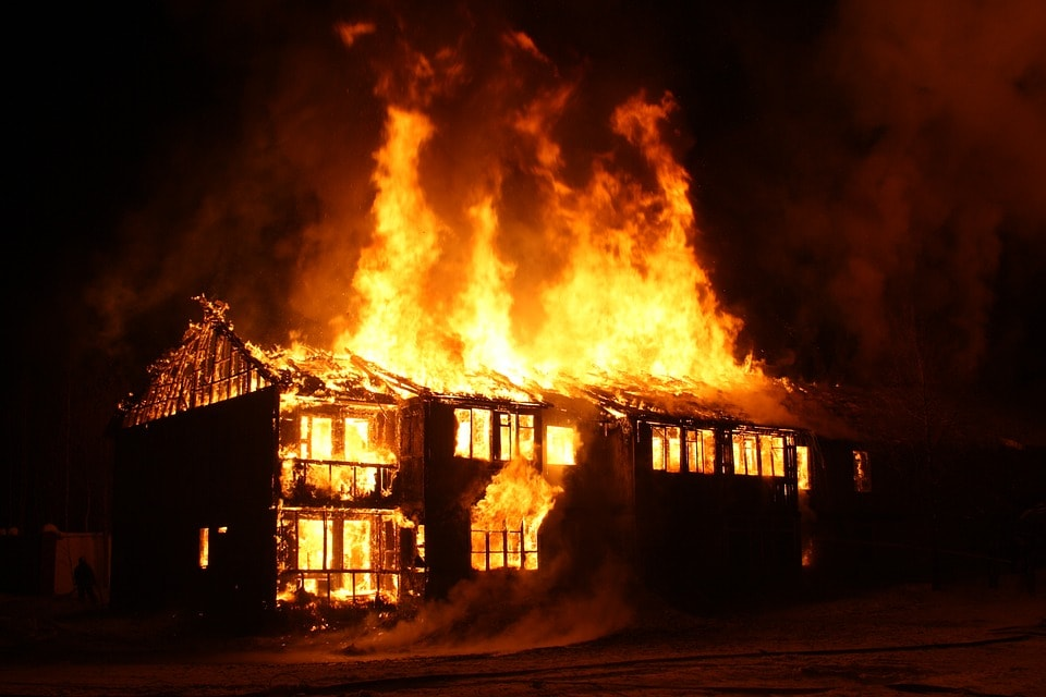 Don's house ablaze in the middle of the night.