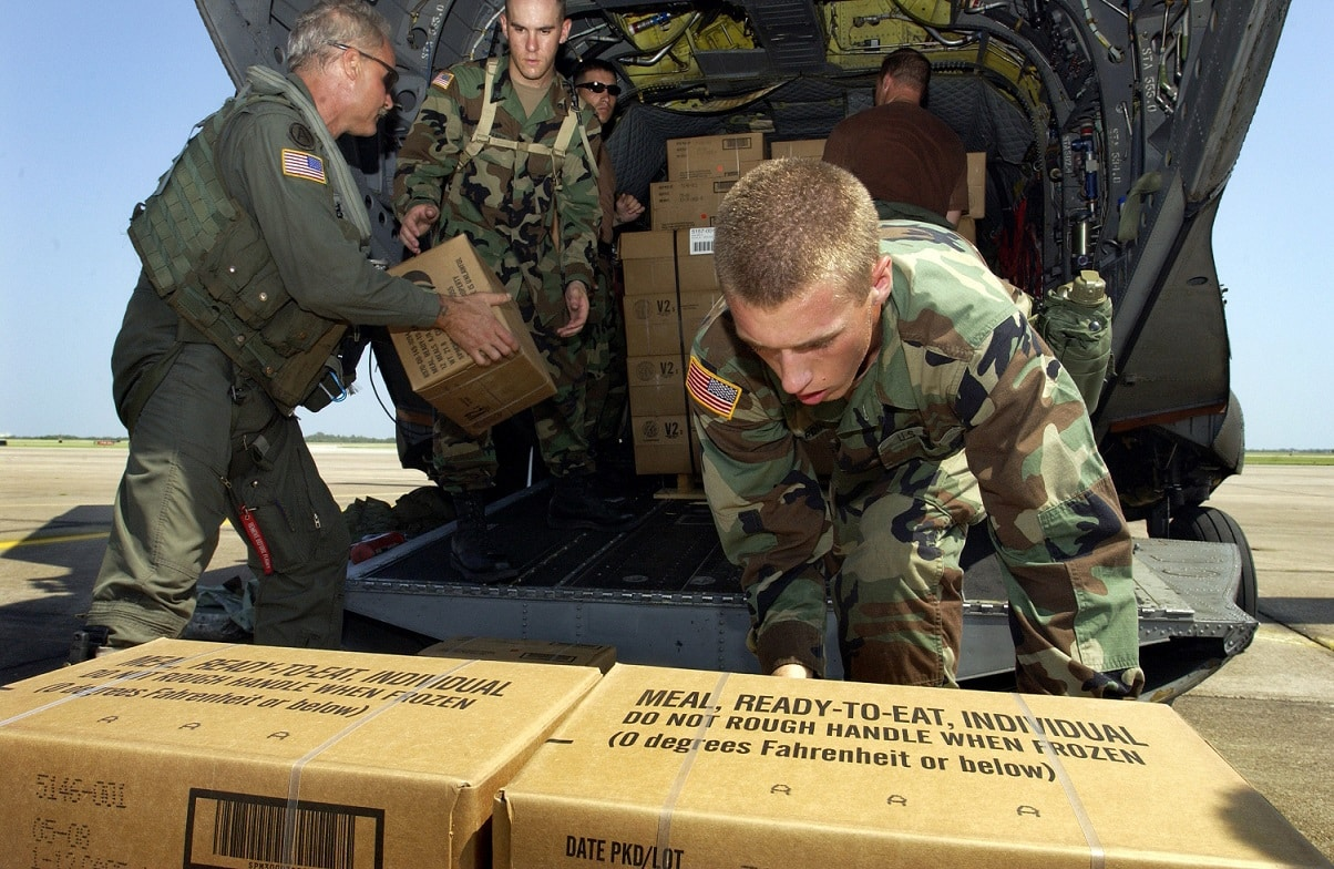 Cases of MREs being loaded during Hurricane Rita.