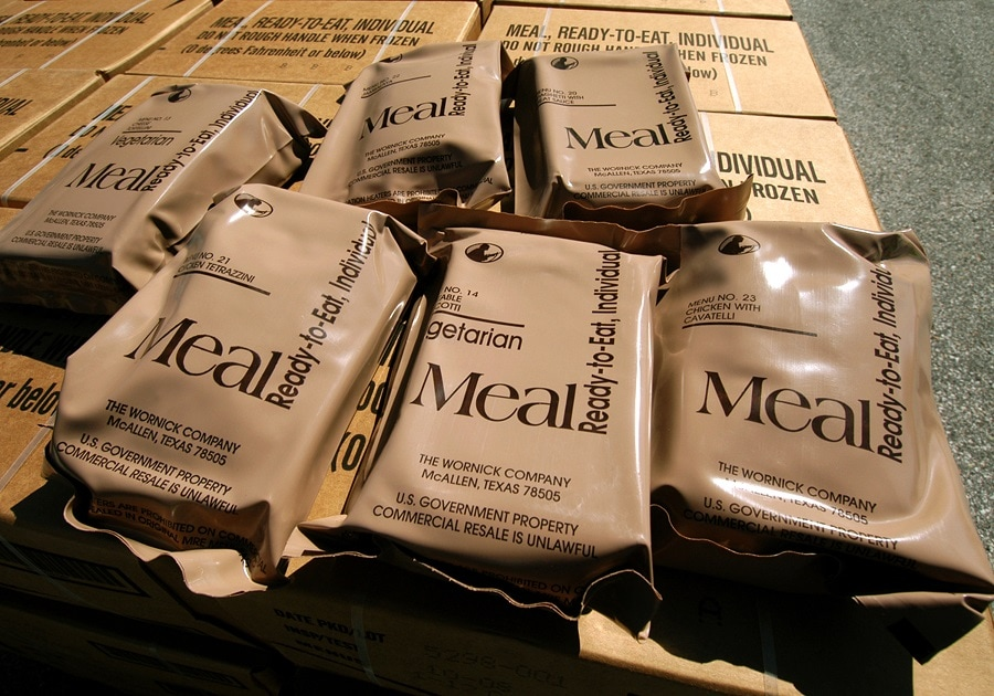 An emergency supply of MRE meals.