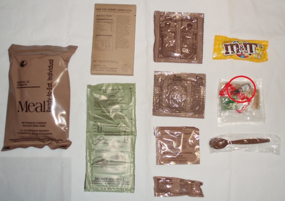 Contents of an MRE.
