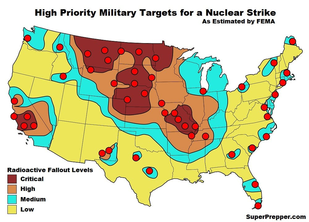 Potential nuclear strike targets as designated by FEMA.