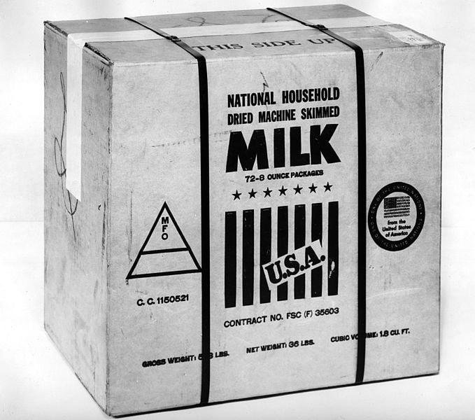 Powdered milk in a box.